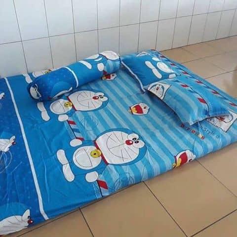 Bộ Chăn Ga Gối Poly Cotton Doremon đẹp Chuẩn Hàng Tại Shop Nhí Mập