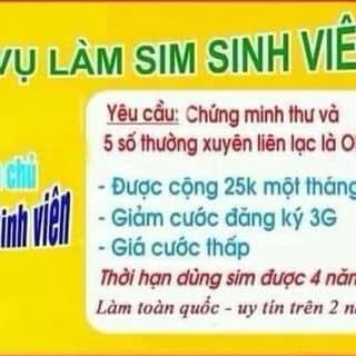 Dịch vụ làm sim sinh viên của hoangdungnhakhoa tại Shop online, Huyện Quan Hóa, Thanh Hóa - 1140578